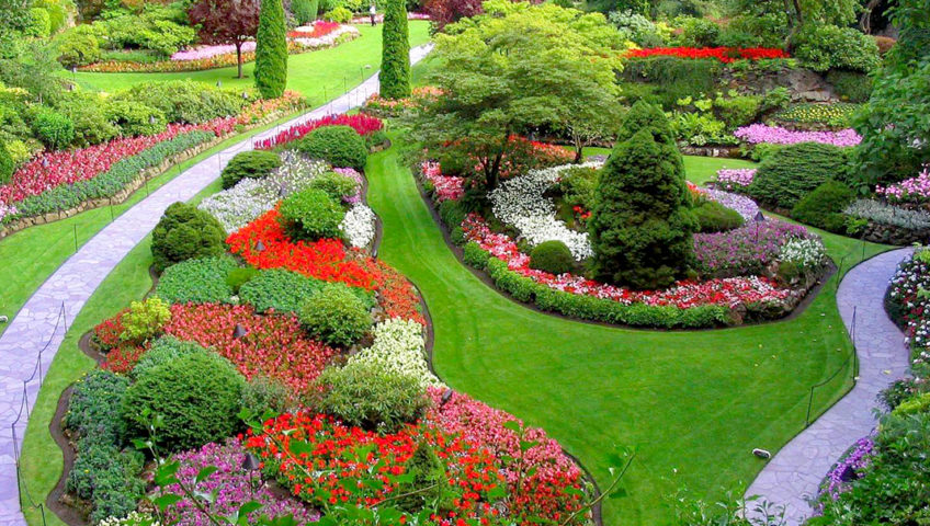 A photo of a top view of a beautiful garden with a walkways.